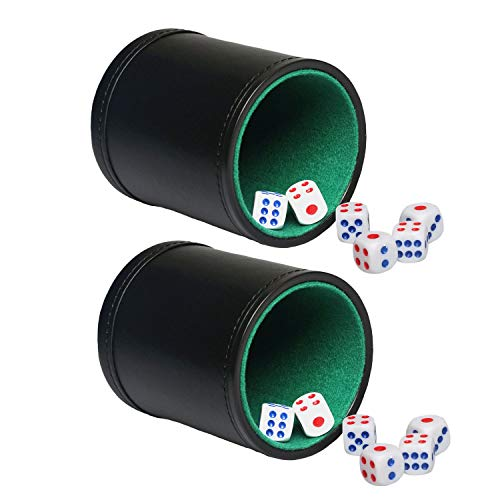 (Leather Dice Cups - Green Felt-Lined, Quality Bicast Leather, Includes 6 White Six-Sided Dices Party Bar KTV Casino - 2 Set)