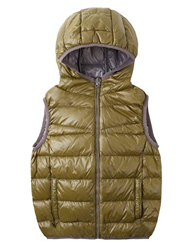 - Spring&Gege Kids Lightweight Quilted Packable Hooded Puffer Down Vest for Boys and Girls Green/Gray Size 7-8 Years