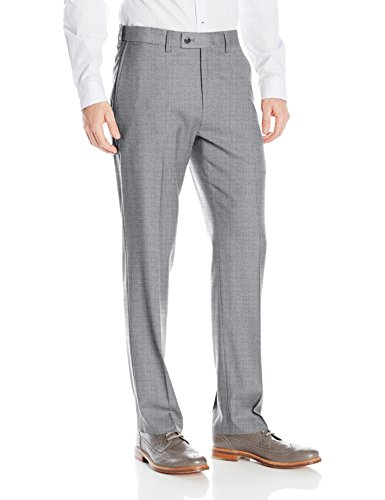 - Louis Raphael Men's Rosso Washable Wool Blend Flat Front Comfort Dress Pant, Light Grey, 38W x 32L