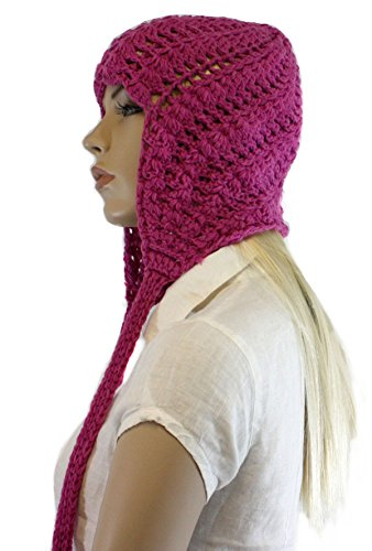 Fashion Dimensions Light Rasberry Knitted Cotton Pom Pom Dangle Trapper Hat