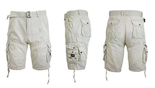 Galaxy by Harvic Mens Cargo Shorts Cotton Belted Vintage Distressed Lounge (Stone, 36)