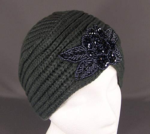 Dark Grey sparkly beaded turban style crochet winter warm ski hat wrap knit R-5251 ()