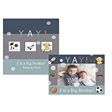 YAY Im A Big Brother, Baby Sibling Keepsake Memory Book and Picture Photo Frame Set for Kids (Big Brother)