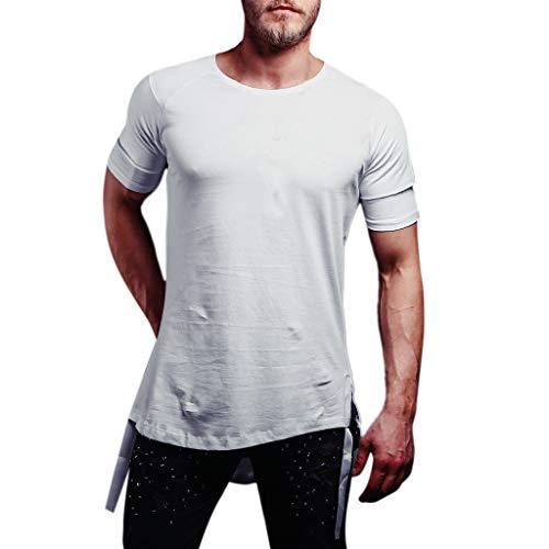 - POQOQ T Shirt Mens Modern Fit Striped Polo Shirt Men Raglan Baseball T-Shirt Mens Summer Slim Fit Pure Color Short Sleeve Polo Casual T-Shirts M White