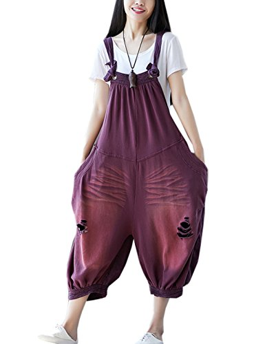 - Flygo Women's Loose Baggy Cotton Wide Leg Jumpsuit Rompers Overalls Harem Pants (One Size, Style 04 Fuchsia)