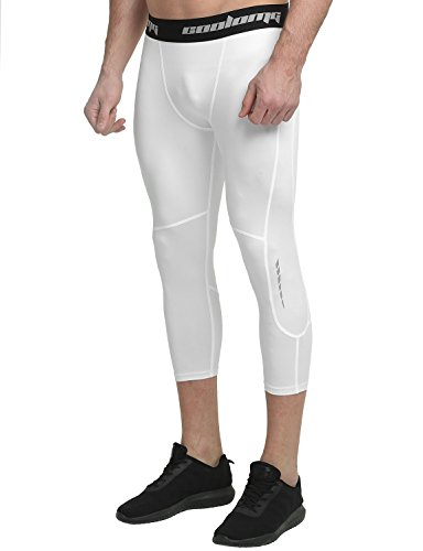 (COOLOMG Men's Compression Pants 3/4 Tight Pants Base Layer Running Leggings Quick Dry for Men Youth Boy White(3/4 Length) Adults Small(Youth X-Large))