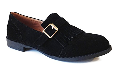 Zapato Mujer Mocasin Flecos Tacon Bajo Negro.