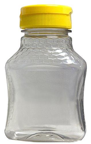 Mann Lake Hourglass Embossed Plastic Jar with Lid, 8-Ounce (Honey Bottles)