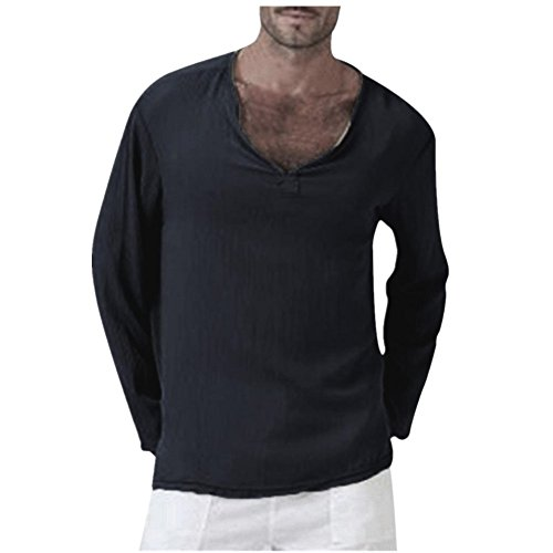(NREALY Men's Summer T-Shirt Cotton Linen Thai Hippie Shirt V-Neck Beach Yoga Top Blouse(S, Black))