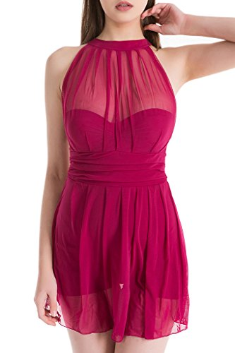 Women's Elegant Mesh Fabric One-Piece Swimsuit High Waist Skirt Folds Swimdress Dark Red 3XL(US10-12) (Palazzo Urn)
