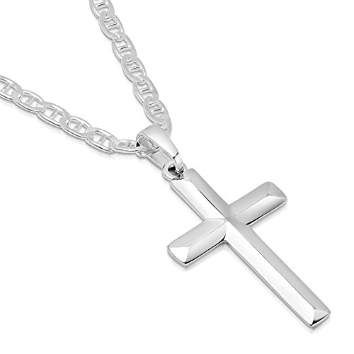 Solid Sterling Silver Cross Necklace 2mm Mariner Chain - Cross - 22