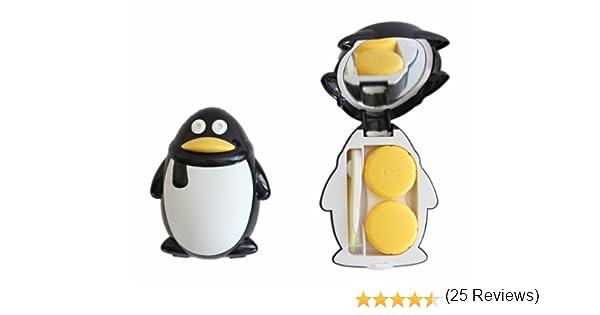 Estuche para lentillas contenedor de almacenaje colour negro de estuche para tarjetas de juego de espejo dulce pingüino: Amazon.es: Salud y cuidado personal