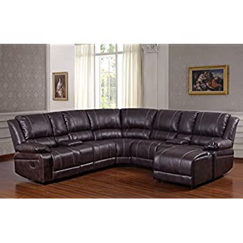 UFE Robinson Sectional Sofa With Recliner Chaise Console W/Cup Holders  Bubble Leather Brown