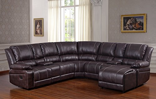 UFE Robinson Sectional Sofa with Recliner Chaise Console w/Cup Holders Bubble Leather Brown (Sofa Cup Holder Sectional)