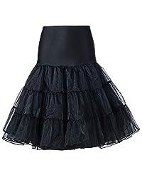 Beauty-Emily Women's 50s Vintage Skirt Petticoat Ruffles Mini Slips Tutu Underskirt