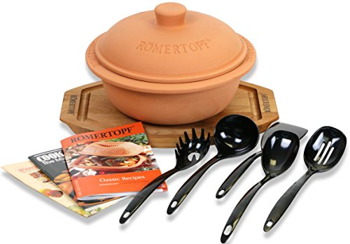 Clay Cooker Glazed Classic (Romertopf Round Dutch Oven Glazed Clay Cooker, Cutting Board, Cookbooks, Utensil Sets)