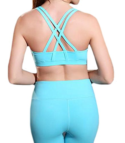 Fulok Womens Push-Up Racer Back High Impact Sport Workout Bra blue Medium