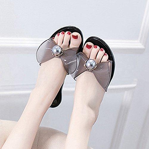 Plat Toe Confort Open Noir Anti Beach Dérapant JRenok Plate Slide Slip Sandales Femmes Forme on Summer Sandales w0HHEY