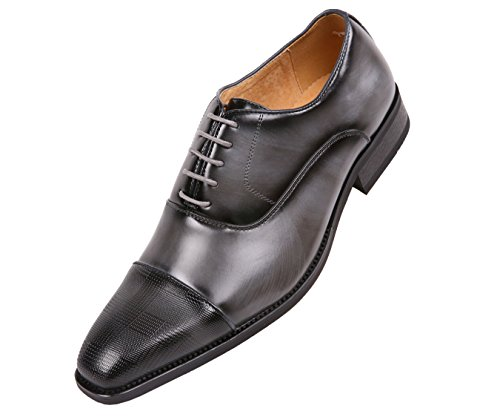 - Amali Men's Smooth Faux Leather Cap Toe Oxford Dress Shoes Style Conrad Grey