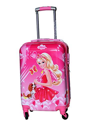 Tramp   Badger 100% polycarbonate, 360° Rotating Wheels, Princess Barbie Printed Pattern Non Breakable   Extra Light Weight Girls/Kids Trolley Bag  Mu