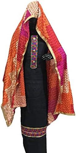 Divud Ecom Women's Uppada Silk Unstitched Suit Salwar with Heavy Phulkari Duppata with Chenon Base Black, Royal Blue, Orange Overall