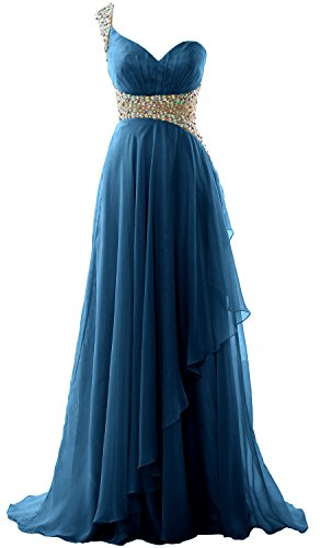 Dress Teal Long Formal Evening MACloth Elegant Prom Shoulder Gown 2018 One Chiffon nwBqq1pW