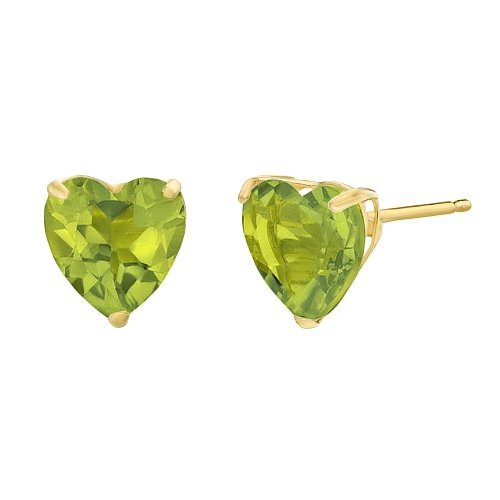 Green Peridot - Lavari - 1.50 cttw Heart 6MM Natural Green Peridot 10K Yellow Gold Stud Earrings