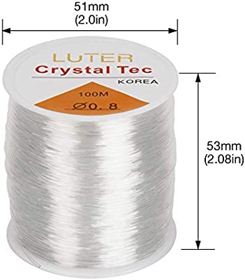 LUTER 0.8mm Clear Bead Cord Crystal Elastic Stretchy Bracelet String for Jewelry Making Necklace Bracelet Beading Thread 328ft