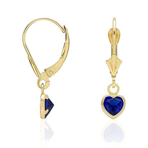 14k Yellow Gold Birthstone Bezel Set Heart Dangle Drop Leverback Earrings