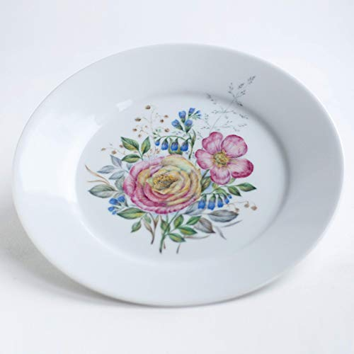 (Royal Porcelain - Hand painted Easter plate with spring flowers - Flower ornament on a porcelain dish - - Garden rosehip on a tea service diameter 8.6 inches)