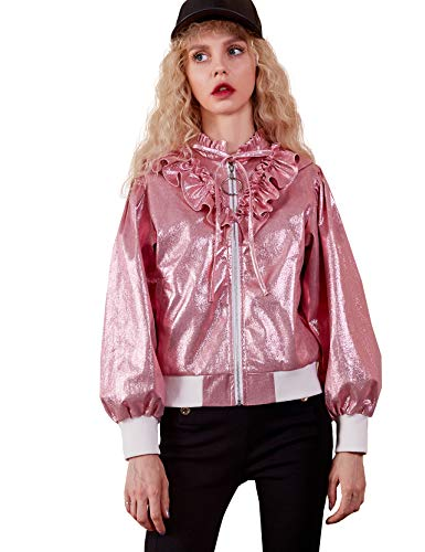 Women Stain Zip up Bomber Jacket,Lightweight Pink Biker Coat Outwear for Junior -