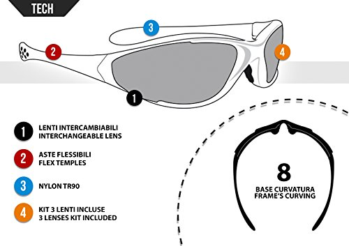 Sport Sunglasses Multilens Running Golf Ski Cycling by Bertoni Italy D200 Wraparound Sports Windproof Glasses
