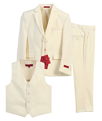 Gioberti Boy's Formal 3 Piece Suit Set, Off White, Size 6