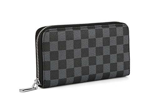 (Daisy Rose Women's Checkered Zip Around Wallet and Phone Clutch - RFID Blocking with Card Holder Organizer -PU Vegan Leather, Black)