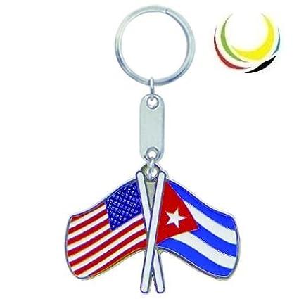 Keychain USA-CUBA FLAGS
