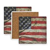 Retro American Flag (2) Coasters, Protection for Granite, Glass, Soapstone, Sandstone, Marble, Stone Table - Perfect Cork Coasters,Square Cup Mat Pad for Home, Kitchen or Bar Set of 4