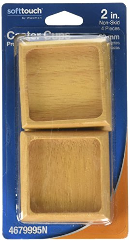 Soft Touch Wood Furniture Caster Cups with Non-Skid Base for Carpet or Hard Floor Surfaces- Protect Your Floor Surfaces and Keep Furniture in Place, 2