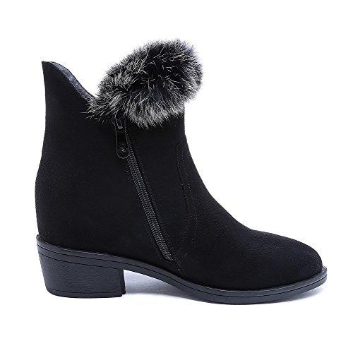Schließen Stiefel Schwarz Spitze Schnalle Materialien VogueZone009 Niedrig Zehe Blend Damen tq8wS0