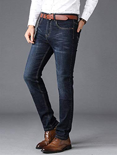 Fit Look Casual Vintage Invecchiato Uomo Fashion Jeans Denim Blau Regular Slim Pantaloni Pants Business Da xUwXpqq8
