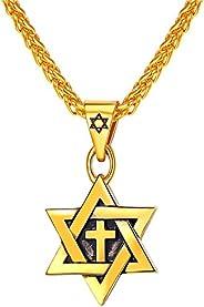 Colar Star of David com corrente masculina de aço inoxidável/Amuleto judaico banhado a ouro 18 K Joia Israel C
