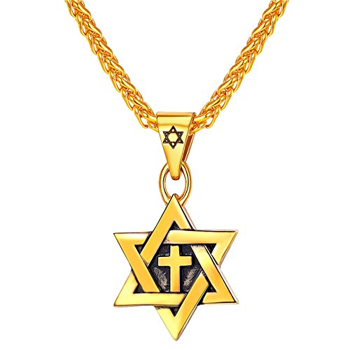 Men's Star of David Necklace & Chain 18K Gold Plated Jewish Jewelry Religious Vintage Enamel Cross Megan Star Pendant