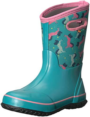 Bogs Classic High Waterproof Insulated Rubber Neoprene Rain Boot Snow, Unicorn Mint Green Multi, 6 M US Big Kid