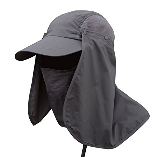 Deruicent Fishing Hat Folding Sun Hat 360° UV Protection Adjust Cap for Men Women Hiking Fishing Outdoor Yard Garden Working (Grey)