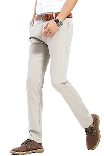 INFLATION Men's Casual Slim Tapered Stretchy Pant Comfort Straight Leg Trousers MH102 Light Grey (36 Leg Trousers)