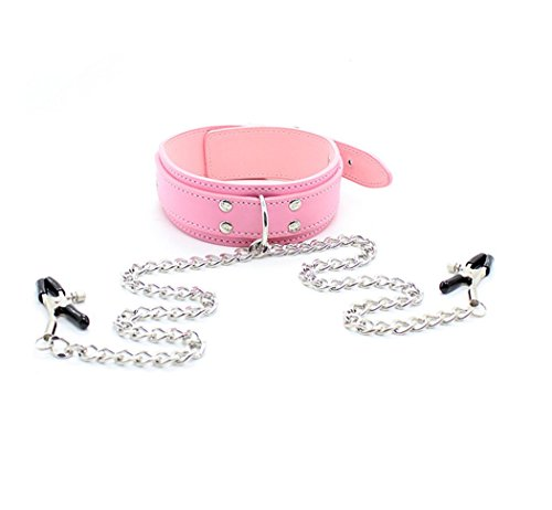 - Metal Chains Brê`ǎ-s`t Clips Faux Leather Collar Necklace Stainless Steel Níp-plé Clamps Toys Fun Gifts (Pink)