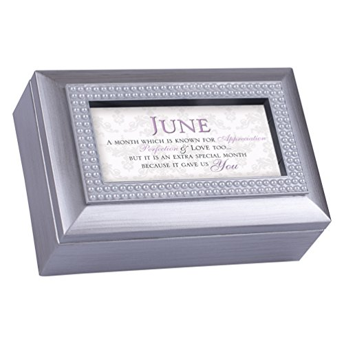 June Appreciation Special You Birthstone Silver Petite Jewelry Music Box Plays Tune You are My Sunshine