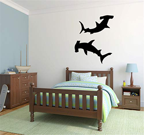 Vinyl Peel and Stick Mural Removable Wall Sticker Decals for Room Home Undersea Animal Wall Decal Hammerhead Sharks Vinyl Wall Decal Sticker for Nursery Kids Room Bedroom