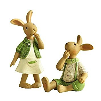 Miz Home 1 Pair 2 Rabbits Cute Resin Cartoon Crafts Desktop Decor Gift for Kid Home Decor Lowest Price Clearance