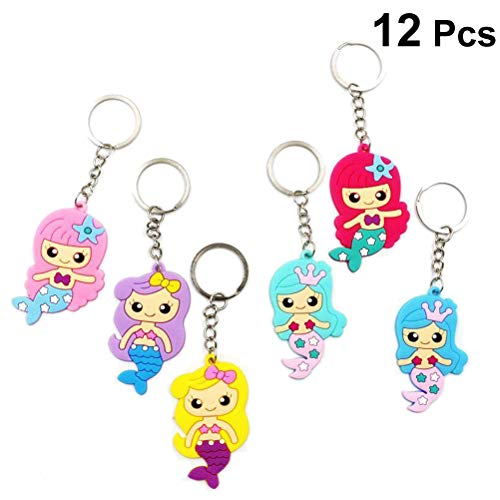 Toyvian Cute Mermaid Keychains Silicone Keyrings for Girls Mermaid Birthday Party Favors Party Gifts,12Pcs (Random Mix) ()