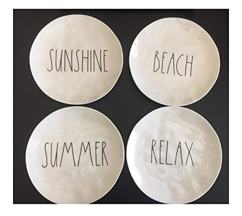 Set of 4 Rae Dunn 8 Melamine Plates Sunshine Beach Summer Relax - Artisan Collection by Magenta